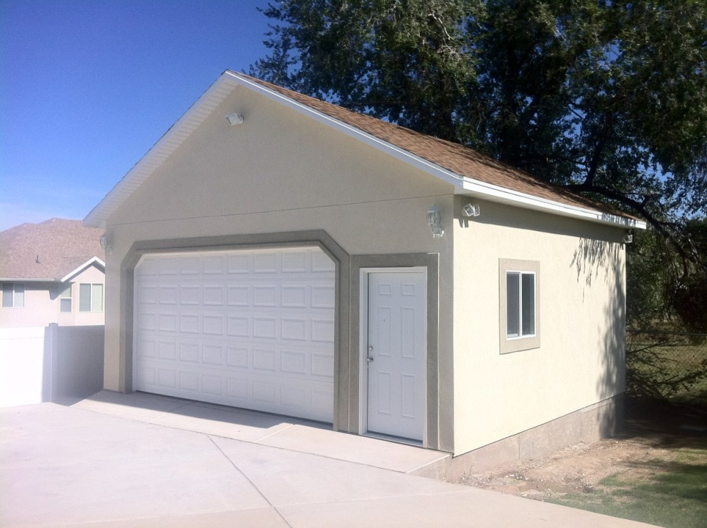 Photo gallery utah sheds for Stucco garage