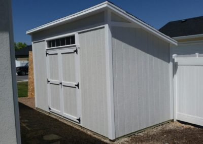 Lean-To Shed with Overhang and Transom Window