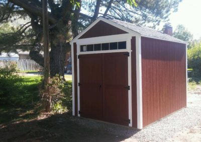 Red Orchard Shed with 6 Foot Transom Over Door