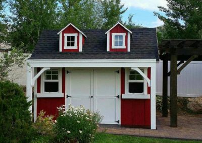 Red Orchard Shed with Dormers and Porch